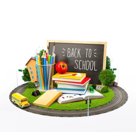 niño escuela: Volver inusual al concepto de escuela. Ilustración del tema de la educación