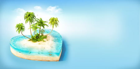 sea beach: Piece of tropical island with water and palms on a beach in cross section in shape of heart.  Unusual travel illustration