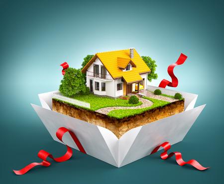 Casa blanca en un pedazo de tierra con jardín y árboles una caja de regalo Foto de archivo