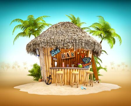 fruta tropical: Bamboo bar tropical sobre un montón de arena. Ilustración de viaje inusual
