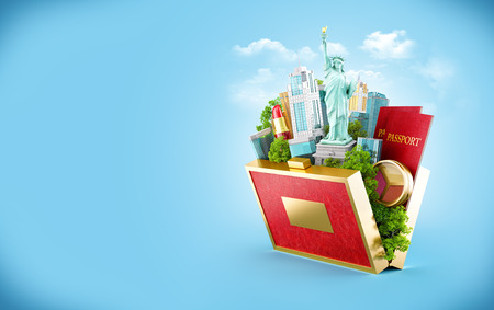 fashion building: New York city in a opened purse. Unusual travel illustration. Shopping in US
