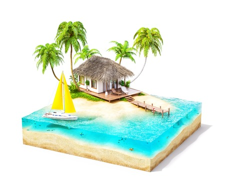 Piece of tropical island with water, palms and bungalow on a beach in cross section.  Unusual travel illustration. Isolated on white 免版税图像
