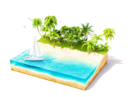 playas tropicales: Pedazo de isla tropical con agua y palmeras en una playa en sección transversal. Ilustración de viaje inusual. Aislado en blanco
