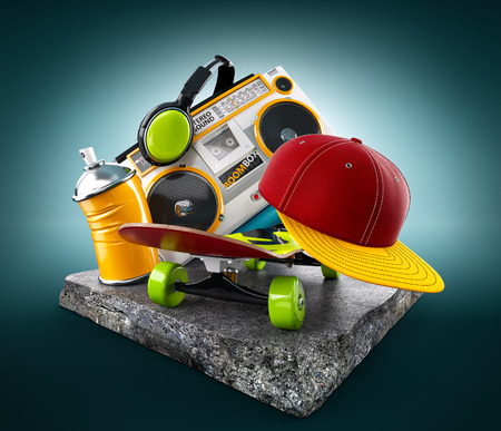 rap music: Boombox, skate, cap and paint on a concrete block. Unusual modern life illustration. Stock Photo