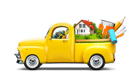 architector: Pickup truck with building and construction equipment in the trunk. Unusual travel illustration