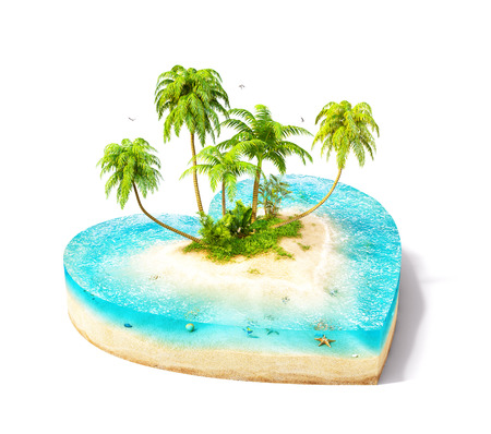 Piece of tropical island with water and palms on a beach in cross section in shape of heart.  Unusual travel illustration. Isolated at white