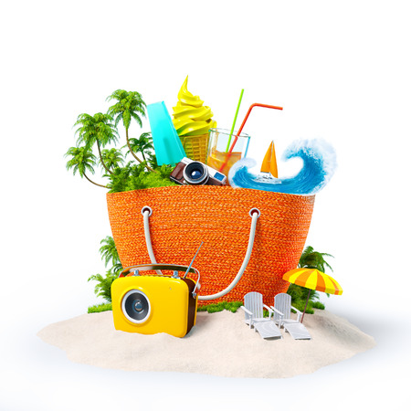 Beach bag with with tropical island inside on  sand. Unusual Travel Background