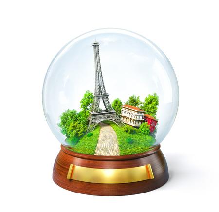 ガラス玉のエッフェル塔。異常な旅行のイラスト。パリ 写真素材