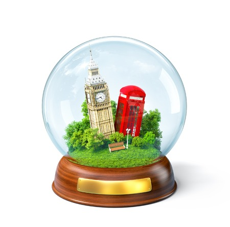 phone box: Big Ben and red phone box in the glass ball. Unusual travel illustration. London