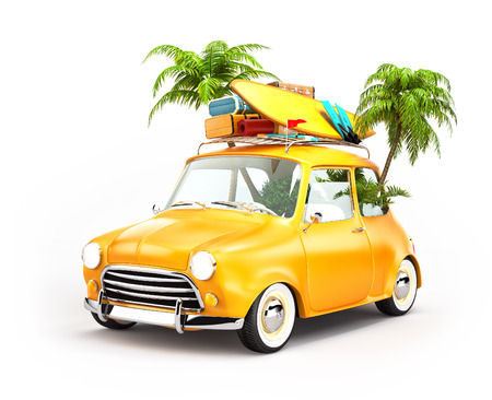 holiday summer: Funny retro car with surfboard, suitcases and palms. Unusual summer travel illustration