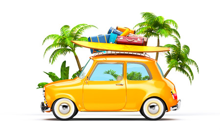 yellow: Funny retro car with surfboard and suitcases. Unusual summer travel illustration