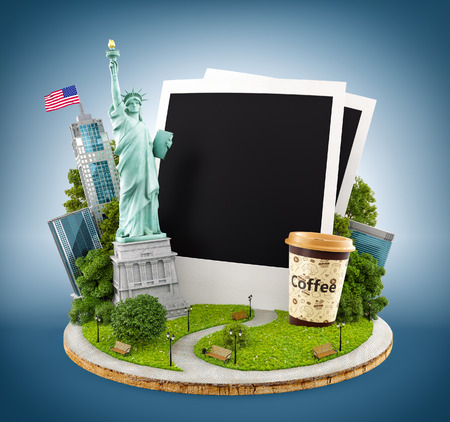 statue: Statue of liberty and New York city buildings with empty photos. Stock Photo