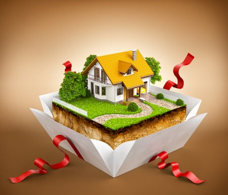 gift boxes: White house on a piece of earth with garden and trees