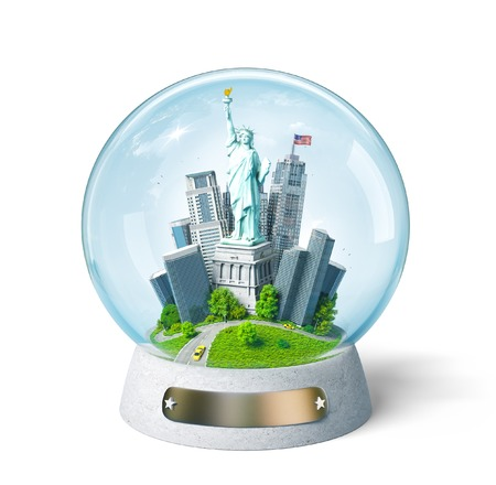 statue: Statue of Liberty and buildings in the glass ball. Unusual travel illustration. USA