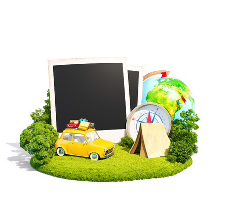 Empty photos, retro car and traveling equipment on a green meadow. Camping. Isoleted on white