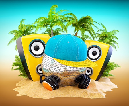 fun background: Mirror ball with cap and headphones. DJ on the beach party.