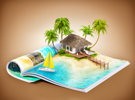 magazine: Tropical island with bungalow and pier on a page of opened magazine.  Unusual travel illustration