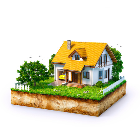 Weißes Haus auf einem Stück Erde mit Garten und Bäumen.