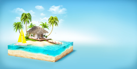art design: Piece of tropical island with water, palms and bungalow on a beach in cross section.  Unusual travel illustration