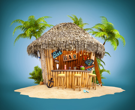 Bamboo bar tropical sobre un montón de arena. Ilustración de viaje inusual