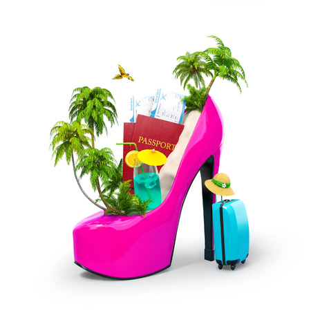 Tropical island in the womens shoe. Unusual travel illustration