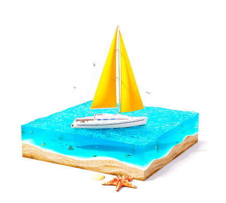 luxury travel: Piece of tropical island with luxury white yacht in ocean in cross section.  Unusual travel illustration. Isolated on white Stock Photo