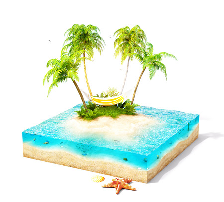 Piece of tropical island with water, palms and hammock on a beach in cross section.  Unusual travel illustration. Isolated on white