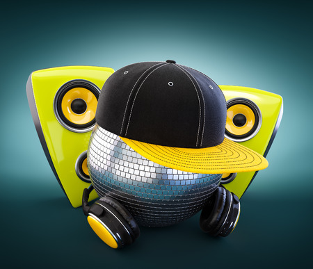 caps: Mirror ball with cap and headphones. DJ. Stock Photo