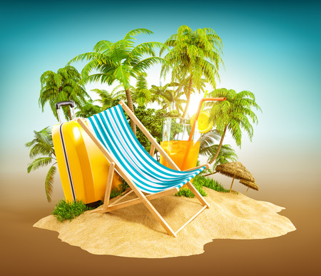 Deck chair on the beach with palms and suitcase. Unusual travel illustration Stok Fotoğraf