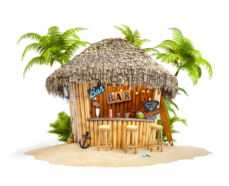 bungalows: Bamboo tropical bar on a pile of sand. Unusual travel illustration. Isolated