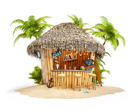 Kum yığını üzerinde Bambu tropikal bar. Sıradışı seyahat illüstrasyon. İzole