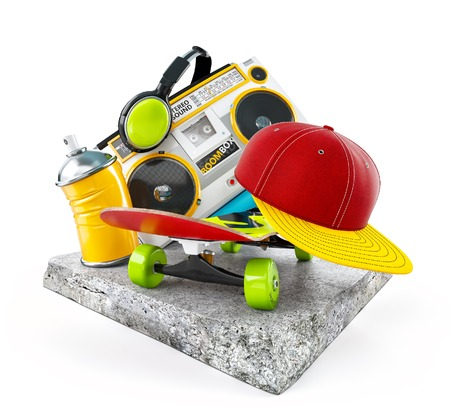 boombox: Boombox, skate, cap and paint on a concrete block. Unusual modern life illustration. Isolated Stock Photo