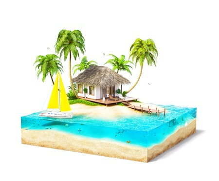 水、ヤシの木と断面のビーチ バンガローと熱帯の島の作品。 異常な旅行のイラスト。白で隔離