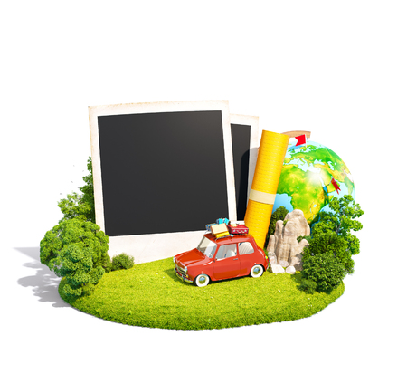 family vacation: Empty photos, retro car and traveling equipment on a green meadow. Camping. Isoleted on white