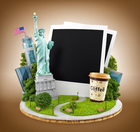 concept: Standbeeld van vrijheid en New York City gebouwen met lege foto's.