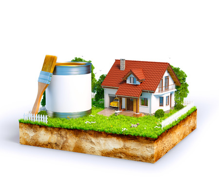 dream house: White house and  paint can with brush on a piece of earth with garden and trees. Unusual illustration