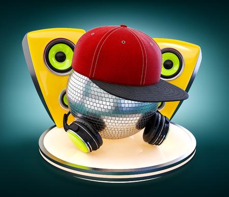yellow green: Mirror ball with cap and headphones. DJ. Stock Photo