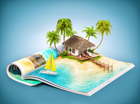 Isla tropical con bungalows y el muelle en una página de la revista abierta. Ilustración de viaje inusual