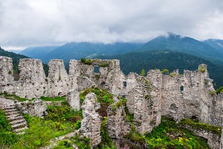 Castle ruins in Austrian Alps Stock Photo