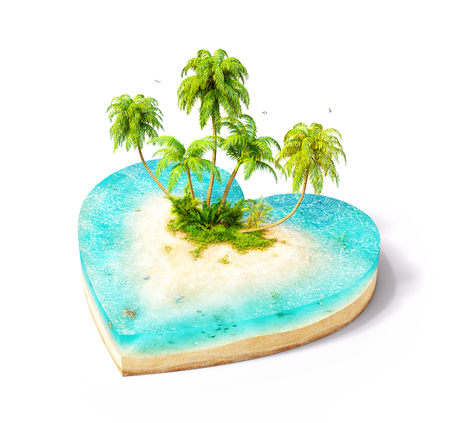 blue sea: Piece of tropical island with water and palms on a beach in cross section in shape of heart.  Unusual travel illustration. Isolated on white