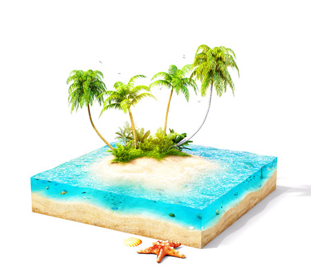 island paradise: Piece of tropical island with water and palms on a beach in cross section.  Unusual travel illustration. Isolated on white