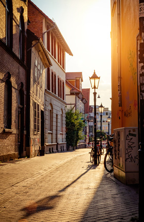 europeans: Empty street in European town Stock Photo