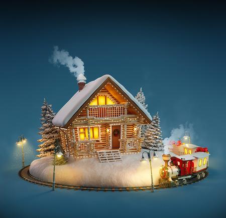 Dekoriert Blockhaus mit Weihnachtsbeleuchtung und magischen Zug auf blauem Hintergrund. Ungewöhnliche Weihnachten Illustration Standard-Bild - 46807195