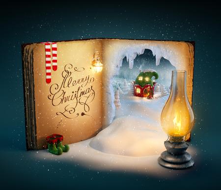 duendes de navidad: Mágico libro abierto con el país de hadas y cuentos de Navidad. Inusual ilustración navidad Foto de archivo