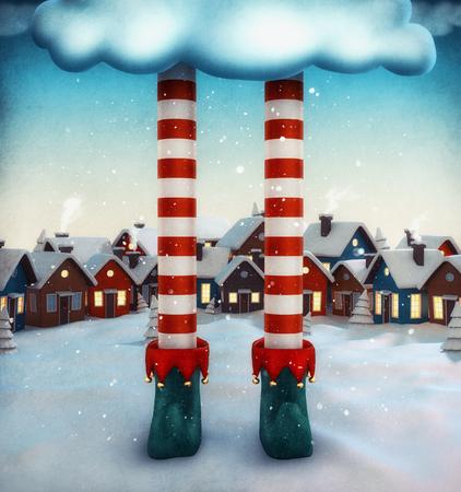 Incredibile illustrazione fata con le case degli elfi e dei cartoni animati. Insolito illustrazione natale.