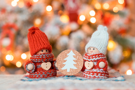 Little cute gnomes at christmas tree background Banco de Imagens