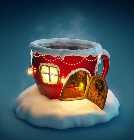 fairy cartoon: Amazing fairy house decorated at christmas in shape of tea cup with opened door and fireplace inside. Unusual christmas illustration.