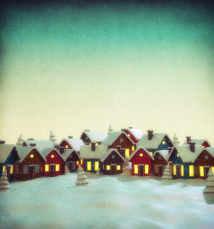 winter tree: Cute little fairy town with cartoon houses in winter. Unusual christmas illustration