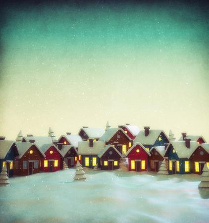 invierno: Pequeña ciudad de hadas linda con casas de dibujos animados en invierno. Inusual ilustración navidad