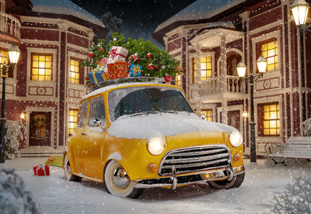 Amazing funny retro car with christmas tree and gift boxes on the roof in the cute city at night. Unusual christmas illustration Archivio Fotografico